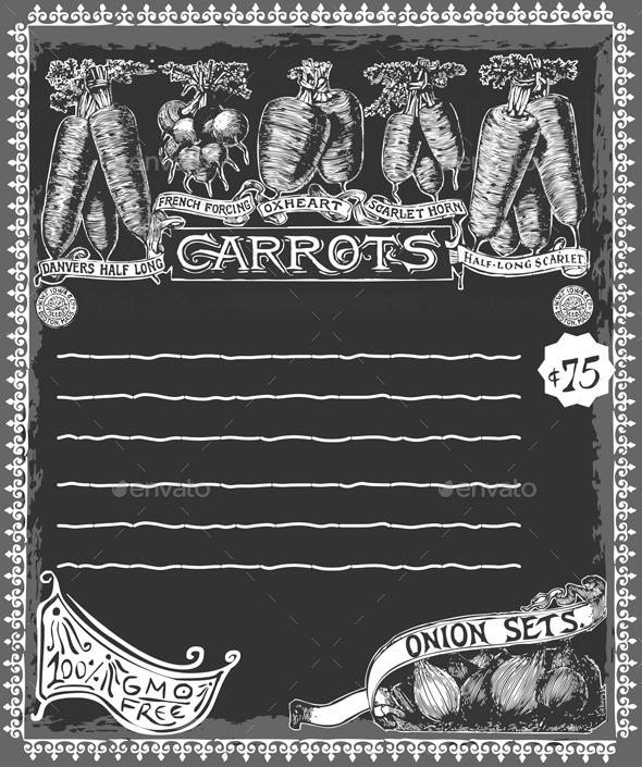 GraphicRiver Greengrocer Vintage Carrots Chalkboard 10503835