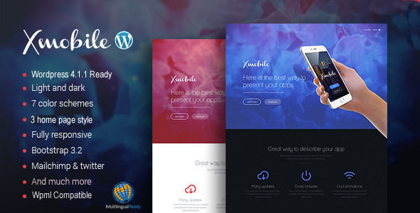ThemeForest Xmobile App Landing Page WordPress Theme 10503914