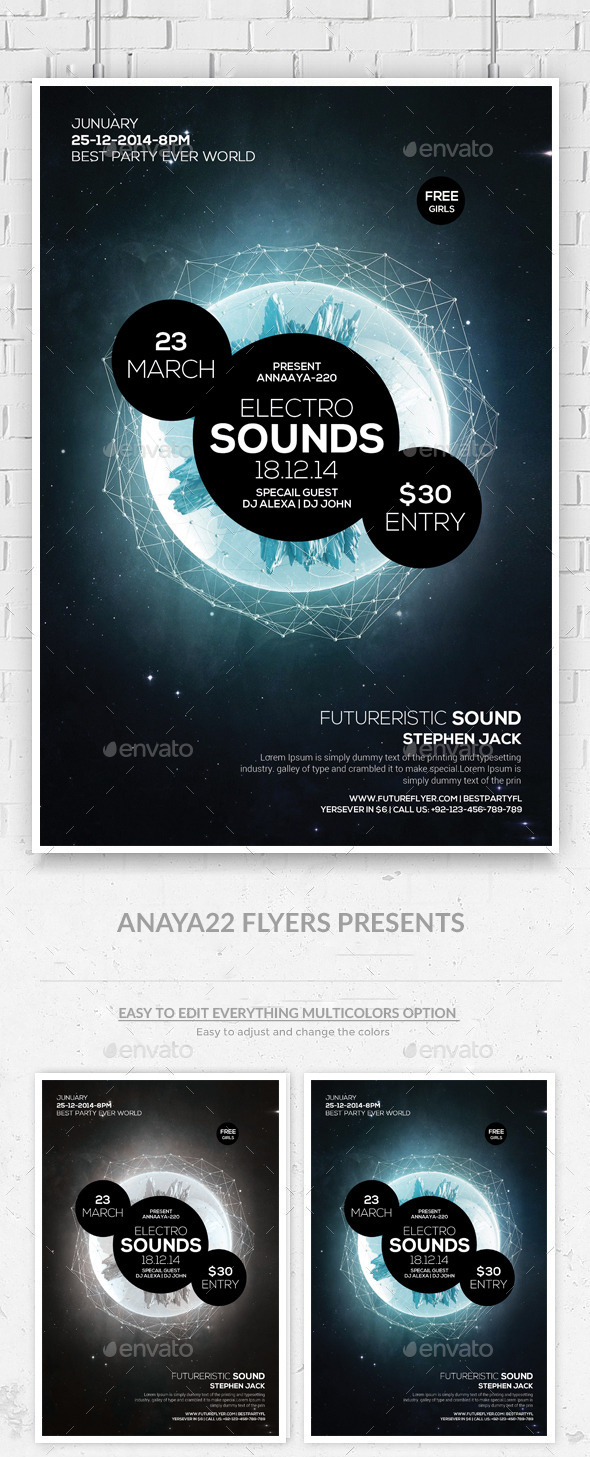 GraphicRiver Electro Space Sound Futuristic Flyer Templates 10504103