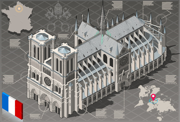 GraphicRiver Isometric Infographic Notre Dame de Paris 10504118