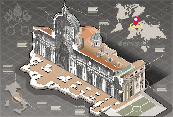 GraphicRiver Isometric Infographic of Saint Peter in Rome 10504390