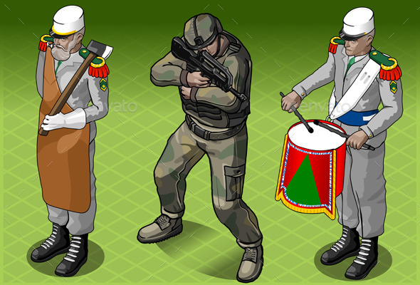 GraphicRiver Isometric Foreign Legion Militar People 10504493