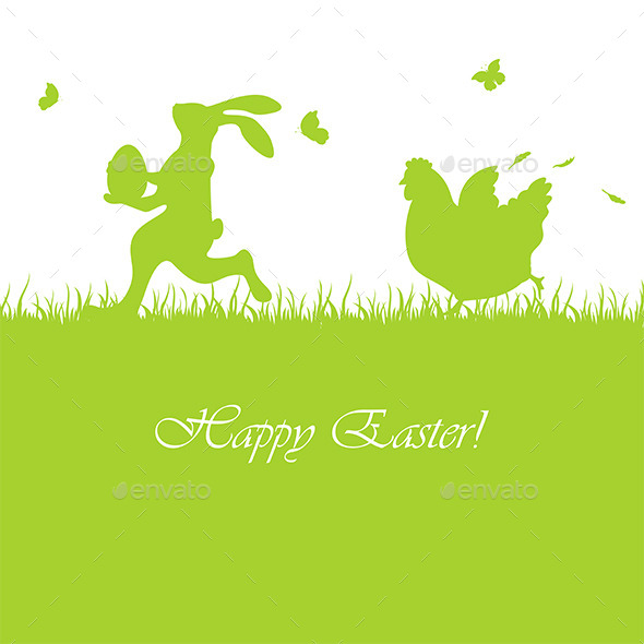 GraphicRiver Easter Background with Rabbit and Hen 10503949