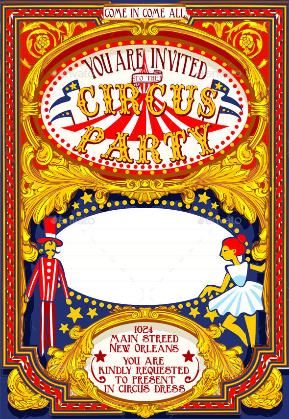 GraphicRiver Poster Invite for Circus Party Carnival 10505530