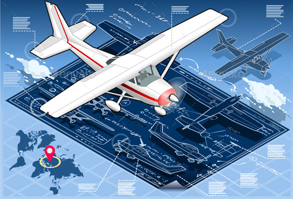 GraphicRiver Isometric Infographic Airplane Blue Print 10505578