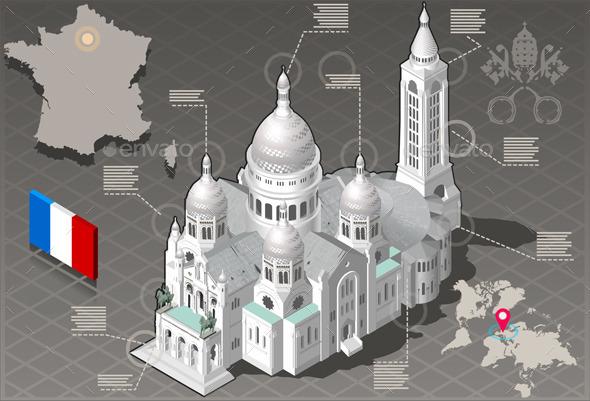 GraphicRiver Isometric Infographic Sacre Coeur Montmartre Paris 10505636