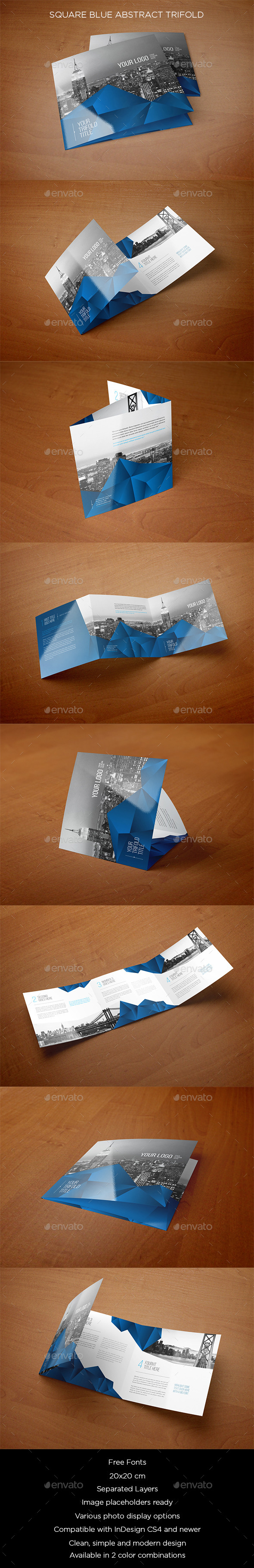 GraphicRiver Square Blue Abstract Trifold 10505643