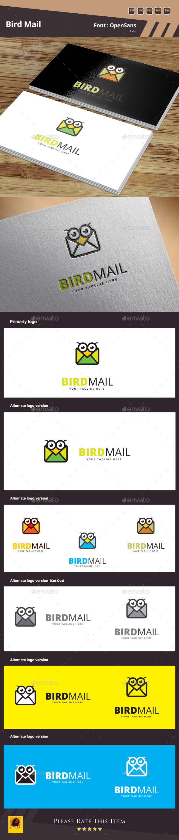 GraphicRiver Bird Mail Logo Template 10505679