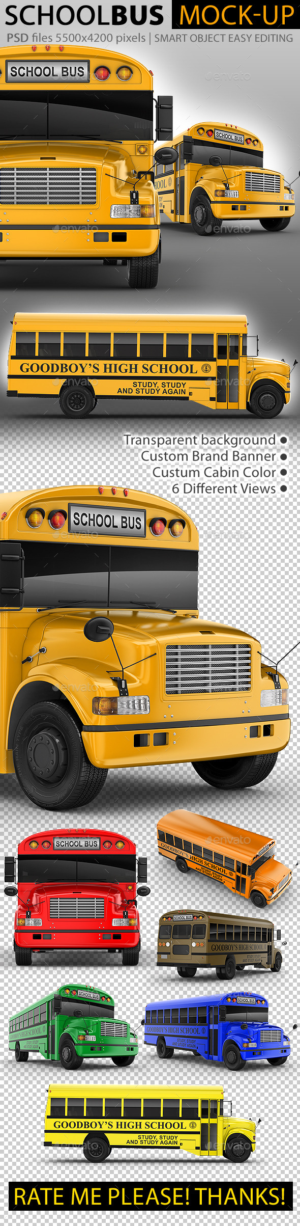 School Bus Mock-Up. 3d Schoolbus