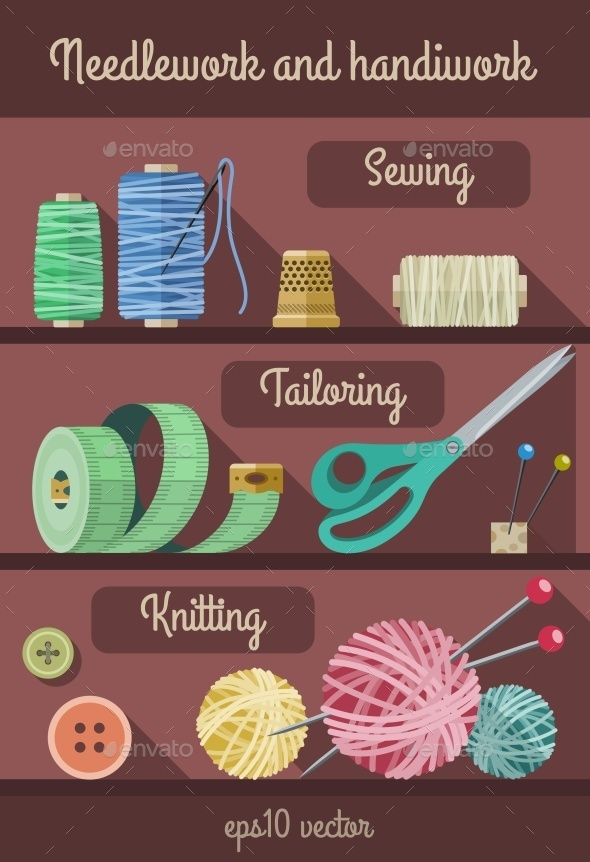 GraphicRiver Set of Tools and Materials for Fancywork and Needlework 10506661