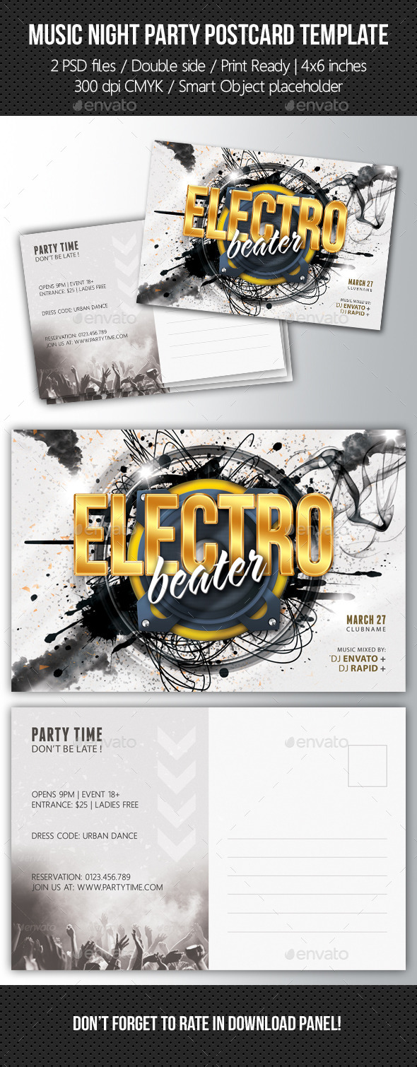 GraphicRiver Music Night Party Postcard Template V05 10506851