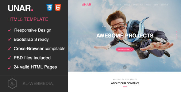 ThemeForest Unar Creative HTML5 Template 10290099