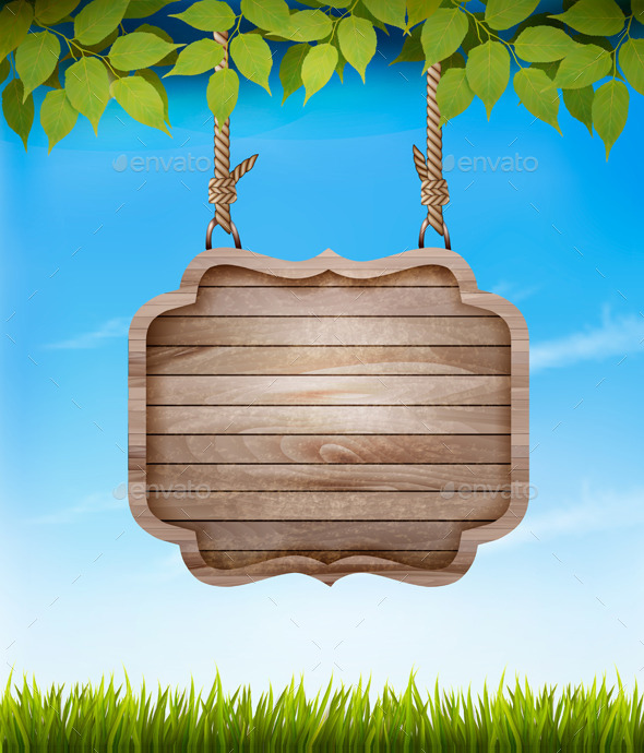 GraphicRiver Natural Background with Leaves and a Wooden Sign 10507362