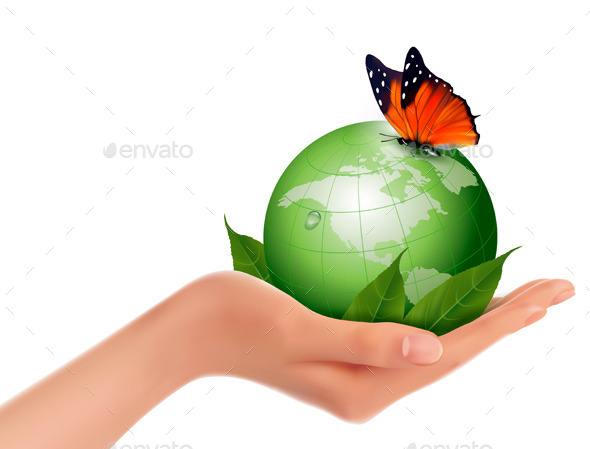 GraphicRiver Green World with Leaf and Butterfly in Woman Hand 10507366