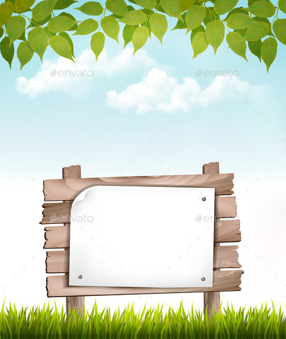 Natural Background with Wooden Board  GraphicRiver