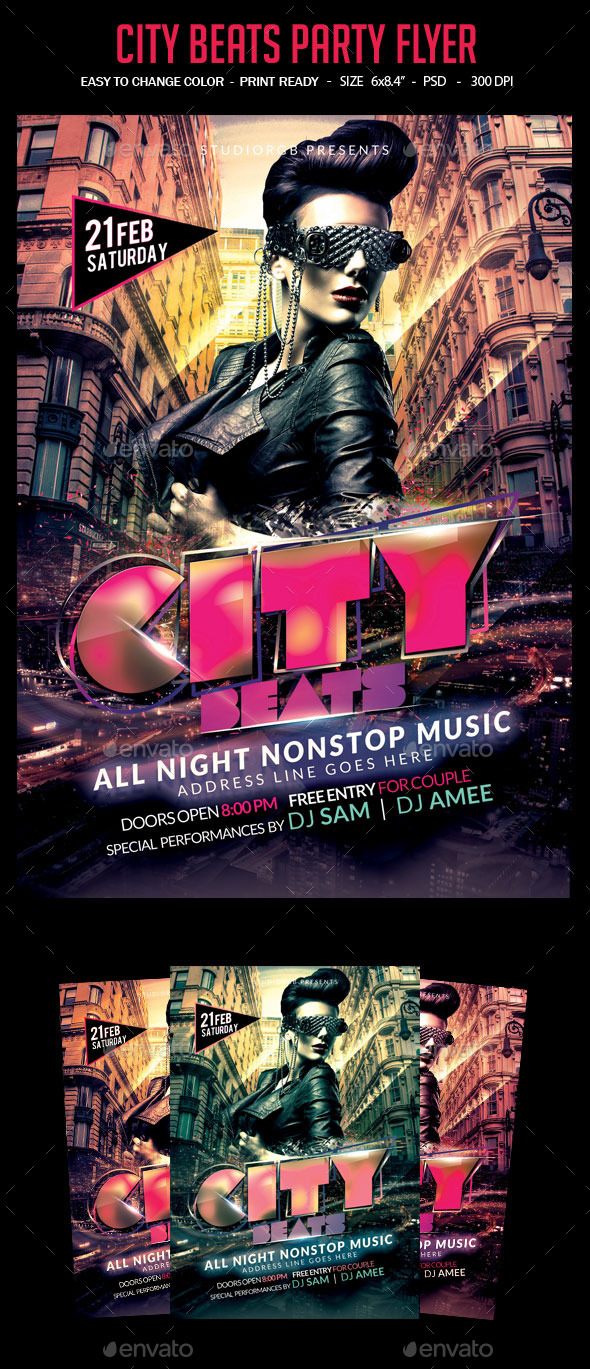 GraphicRiver City Beats Party Flyer 10465698