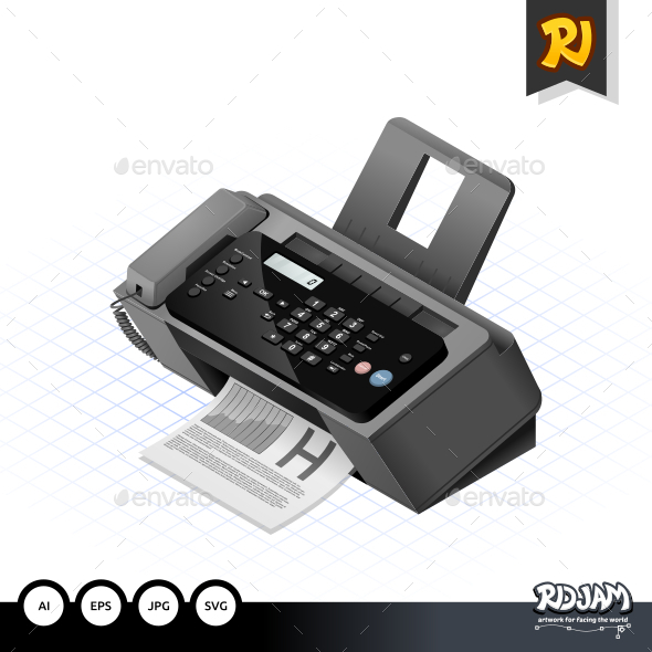 GraphicRiver Isometric Fax Machine 10507532