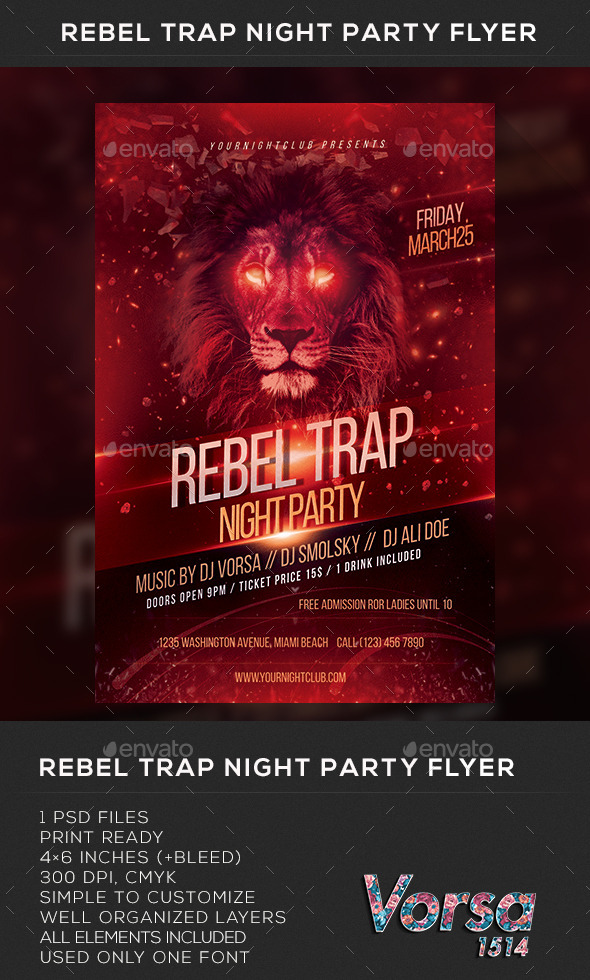 GraphicRiver Rebel Trap Night Party Flyer 10507591