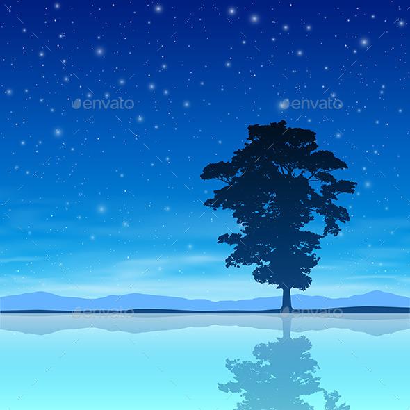 GraphicRiver Tree with Night Sky 10507975
