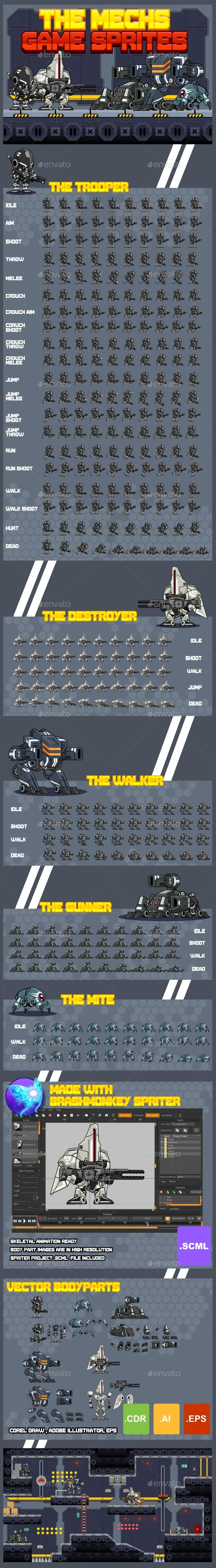 GraphicRiver The Mechs Game Sprites 10508066