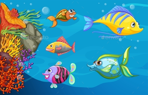 GraphicRiver A School of Fish Under the Sea 10508303