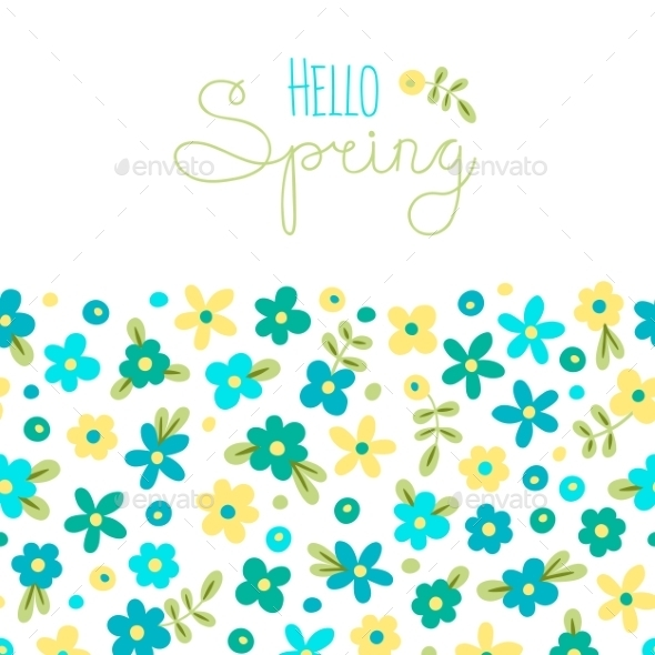 GraphicRiver Spring with Flowers Card 10508337