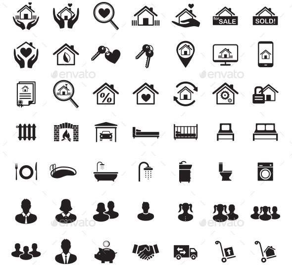 GraphicRiver Real Estate Icon Set Family Symbols Vector 10492542