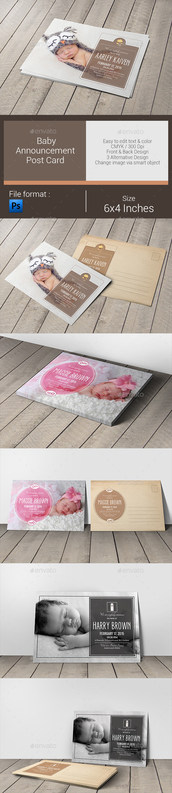 GraphicRiver Baby Announcement Post Card 10509109