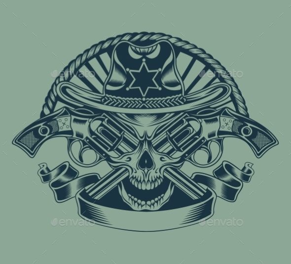 GraphicRiver Illustration of Sheriff s Skull 10509189