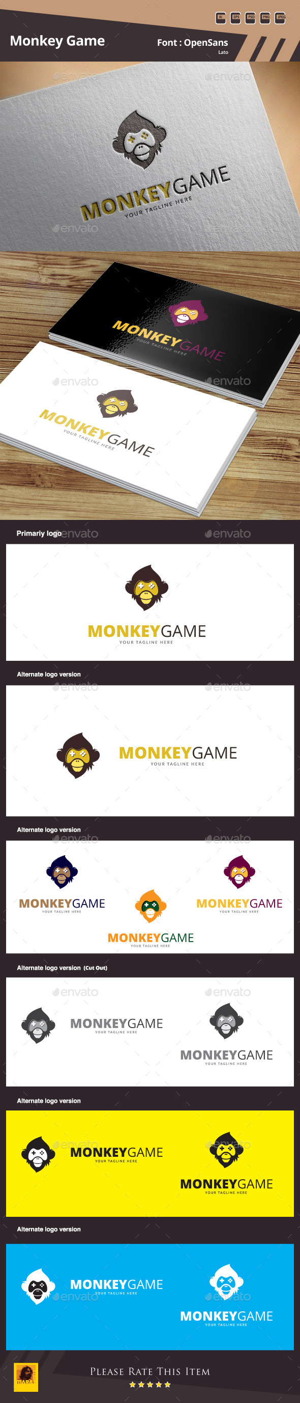 GraphicRiver Monkey Game Logo Template 10509249