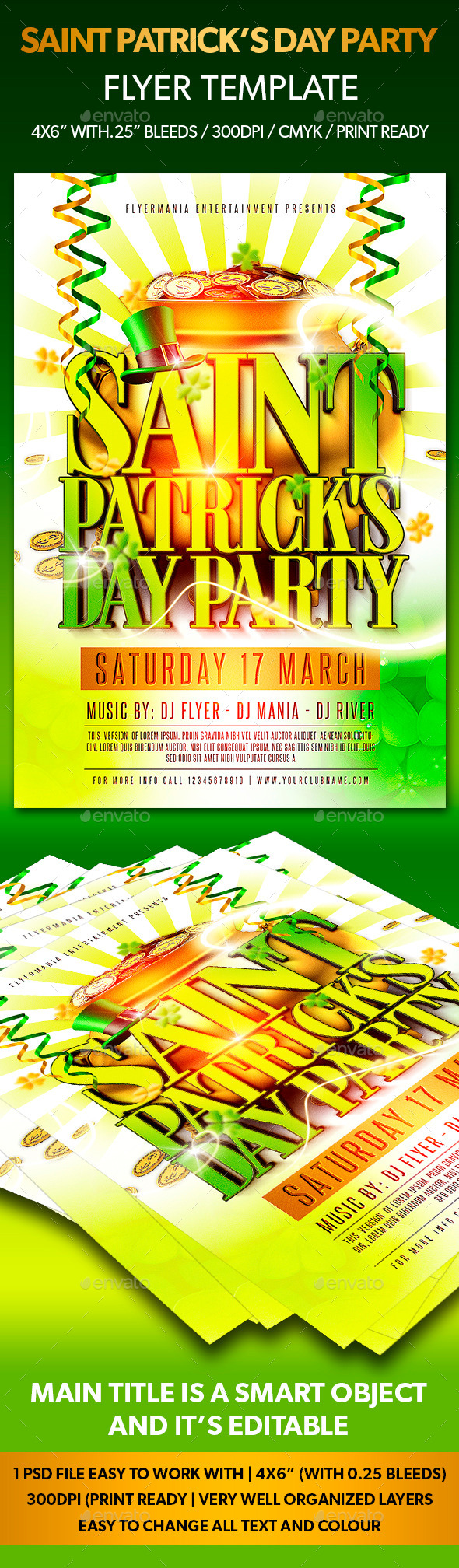 GraphicRiver Saint Patrick s Day Party Flyer Template 10509279