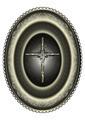 Oval Silver Medallion with Cross Framed Patterned Border - PhotoDune Item for Sale