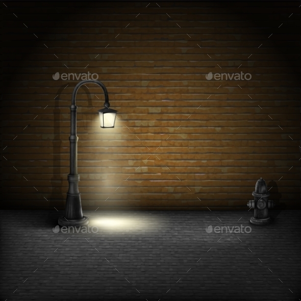 GraphicRiver Vintage Streetlamp on Brick Wall Background 10509811