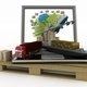 Laptop with cargo ship, truck, plane and boxes around globe on wooden pallet - PhotoDune Item for Sale
