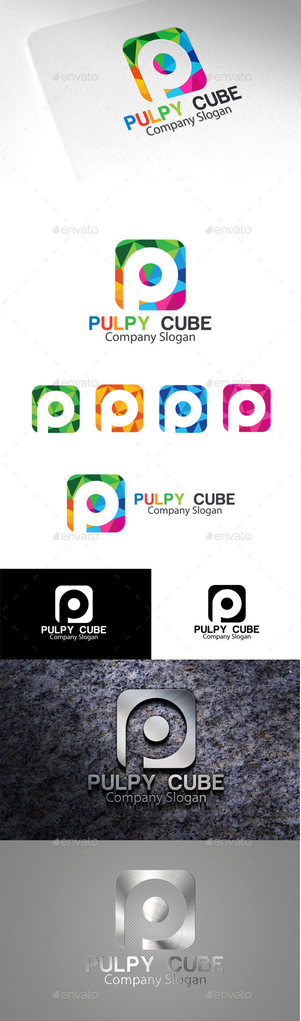 GraphicRiver Pulpy Cube P Letter Logo 10510798