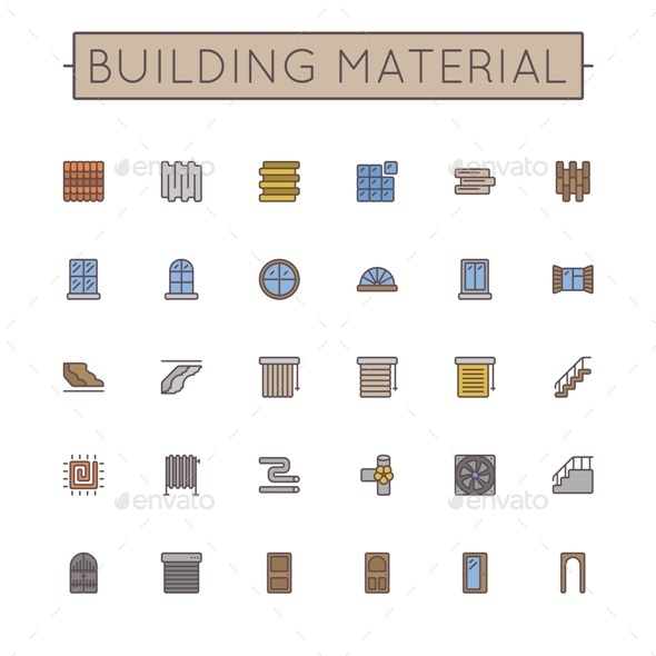 GraphicRiver Vector Colored Building Material Line Icons 10510851