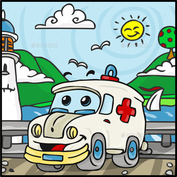 GraphicRiver Cartoon Ambulance Character with Lake 10510889