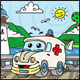 Cartoon Ambulance Character with Lake - GraphicRiver Item for Sale
