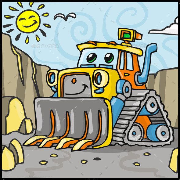 GraphicRiver Cartoon Bulldozer Character with Quarry 10510901