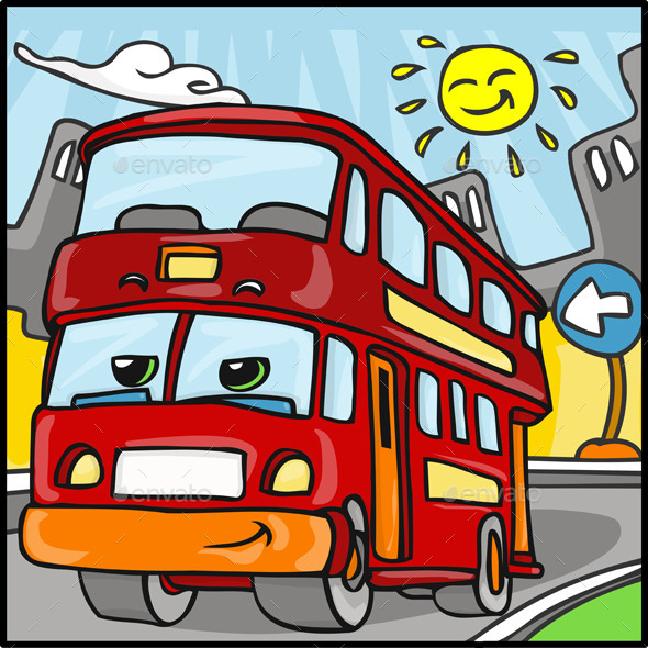 GraphicRiver Cartoon Red Duble Decker Bus Character 10510907