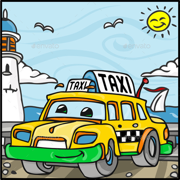 GraphicRiver Cartoon Taxi Character Near the Sea 10510918