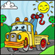 Cartoon Tow Truck Character with Hills Background - GraphicRiver Item for Sale