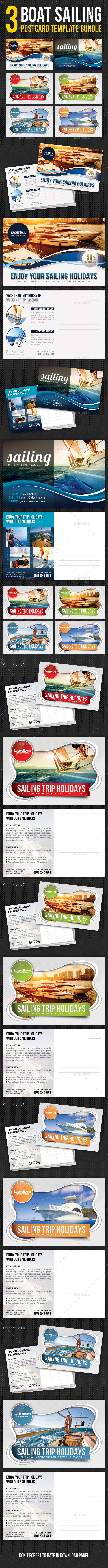 GraphicRiver 3 in 1 Boat Sailing Postcard Template Bundle 10511252