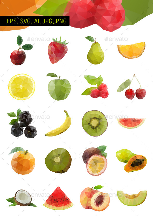 Polygonal Vector Fruit - Set of 20