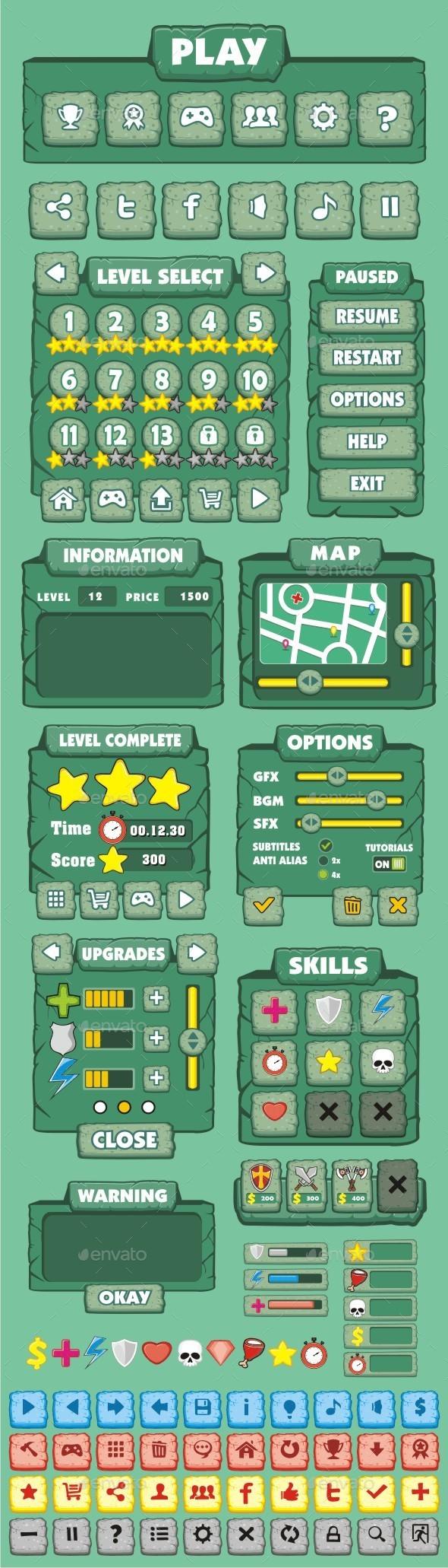 GraphicRiver cartoon game gui pack 8 10511369