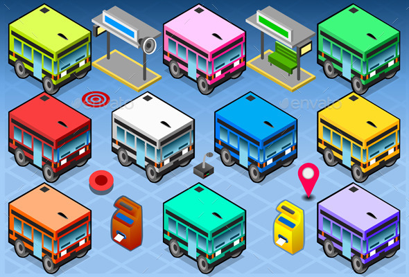 GraphicRiver Isometric Rainbow Buses 10511383