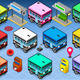 Isometric Rainbow Buses - GraphicRiver Item for Sale
