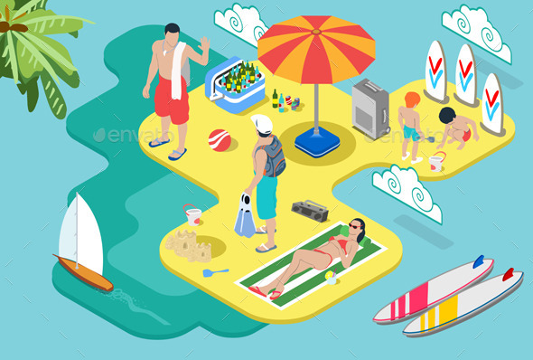 GraphicRiver Isometric Beach Life Summer Holidays Concept 10511386