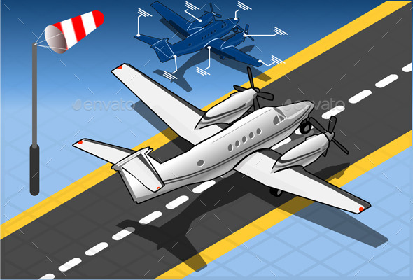 GraphicRiver Isometric White Private Plane 10511390