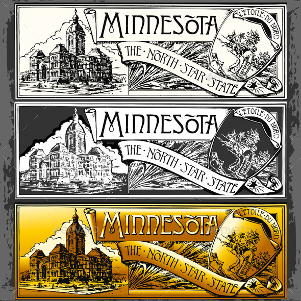 GraphicRiver Vintage Minnesota Label Plaque Black and Gold 10511409